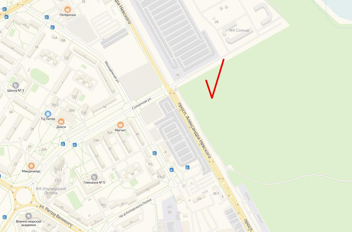 Земельный участок под ледовую арену сформирован на пересечении улицы Солнечной с проспектом Александра Невского, недалеко от гаражей «Искра»